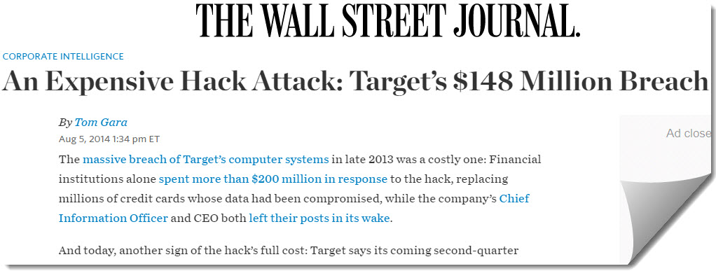 2013 Target's $148 Million Hacked